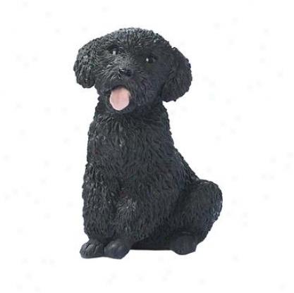 Black Poodle Puppy Dog Statue