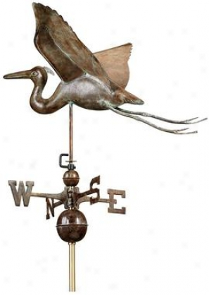 Blue Heron Full-size Weathervvane - Polished Copper Finish