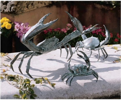 Bronze Crab Sculptures: Set Of Small, Medium And Large