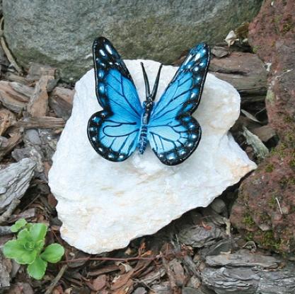 Butterfly Alloy of copper Garden Statue: Blue Butterfly