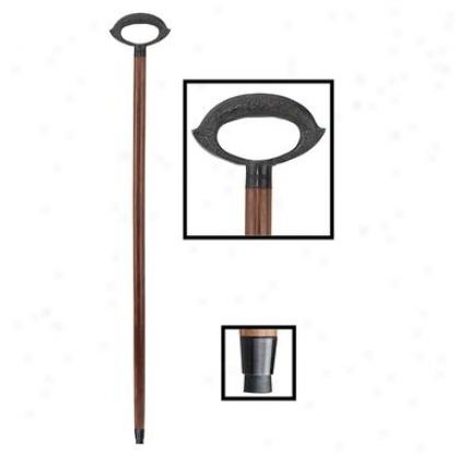 Cast Metal Grip Handle Hardwood Walking Stick