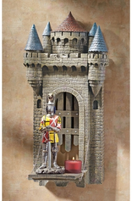 Castle Carcassone Drawbridge Sculptural Wall Shelf