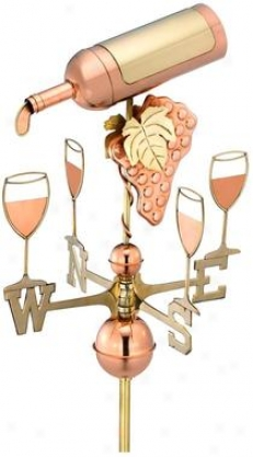 Celebration Wine Boftle Full-size Copper Weathervane