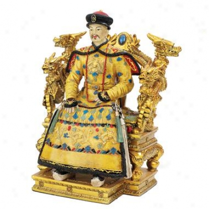 Chinese Emperor On Dragn Throne Statue: King