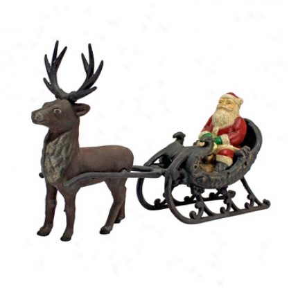 Christmas Santa On Sleigh With Reindeer Die-cast Iron Statue