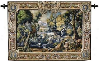 Classic French Landscape Wall Tapestry: Cotton