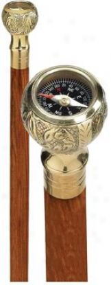 Collectible Authentic Polished Brass Gentleman's Walking Cane: Compass