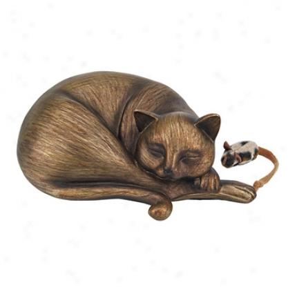 Curl Up Kitten Sleeping Cat Statue
