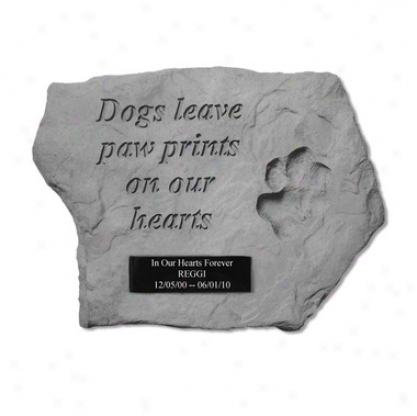 Dog Paw Prits Personalized Cast Stone Memorial Statue