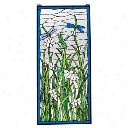 Dragonflies Dance Stained Glass Windoow