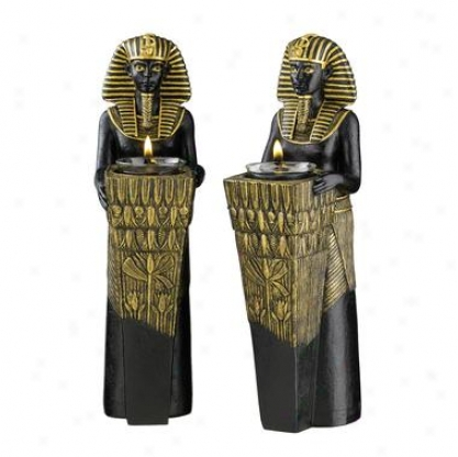 Egyptian Pharaoh Altar Taper Holder Statutes: Set Of Two