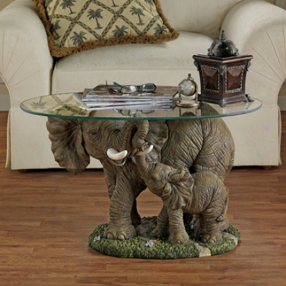 Elephant's Majesty Glass-topped Cocktzil Table