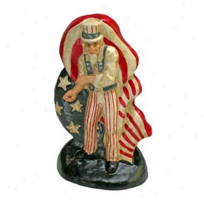 Fighting Uncle Sam Cazt Iron Bookend And Doorstop Statuary: Set Of Two