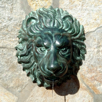Florentine Lion Head Spouting Wall Plaque Solid Bronze Garden Sculpture