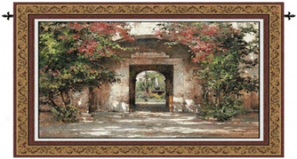 Flowered Doorway Landscape Wall Tapestry