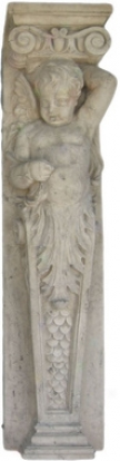 Fontainebleau Winged Cherub Architectural Pilaster Sc8lpture: Right