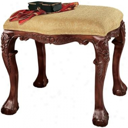 French Baroque Honet Upholstdred Bench - Medium