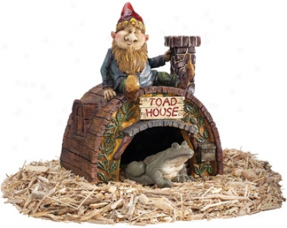 Garden Gnome's Toad House Statue