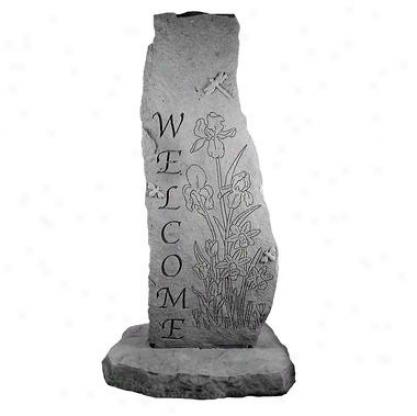 Garden Iris Cast Stone Welcome Obelisk Statue