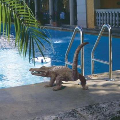 Gator On The Prowl: Spltting Bronze Alligator Garden Statue
