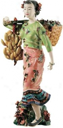 Girl Carrying Fruits Fine Porcslain Sculpture