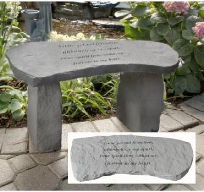 Gone Yet Not Forgotten Cast Stone Memorial Garden Bench
