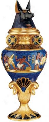 Grand Anubis Lidded Urn
