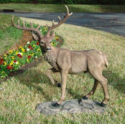 Grand-scale Black Forest Garden Deer Svulpture