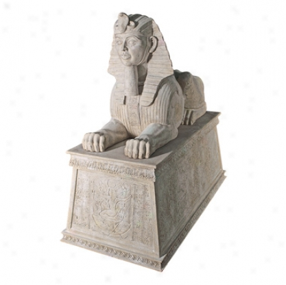 Grand Stone Sphinx Statue Atop A Egyptian Plinth