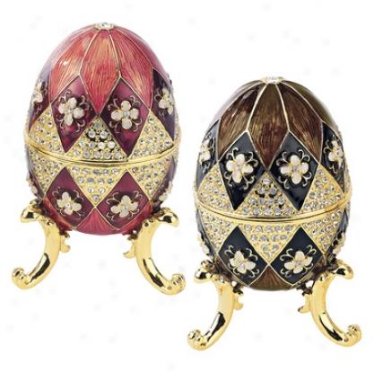 Harlequin Faberge Style Enameled Egg Set: Black & Mauve Eggs