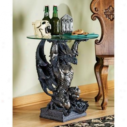 Hastings, The Warrior Dragon Glass-toppes Sculptural Table