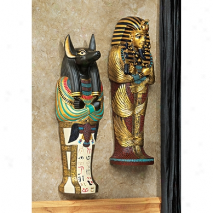 Icons Of Anxient Egypt Wall Sculptures: King Tut & Anubis Set