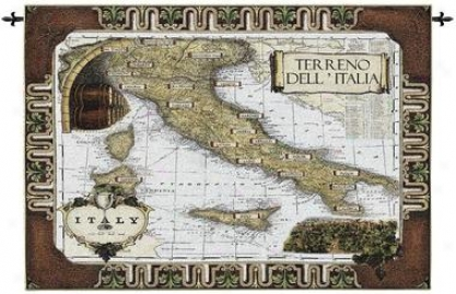 Italian Wine Country: Old World Map Wall Tapestry