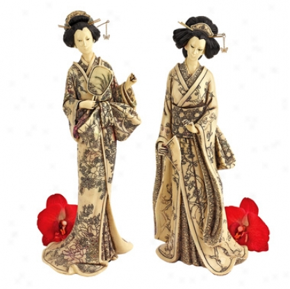 Japqnese Faux Ivory Okimono Geisha Collection: Holding Mirror & Holding Fan