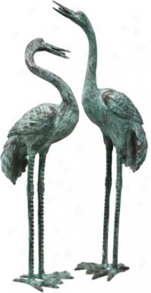 Large Bronze Crane: Set