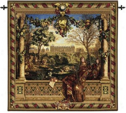 Le Chateau De Monceau Wall Tapestry: Cotton