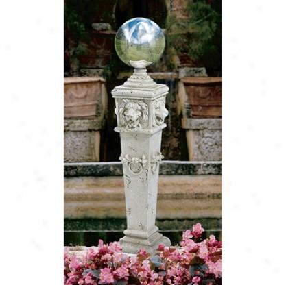 Lion Head Gazing Globe Garden Pilla5 Statue
