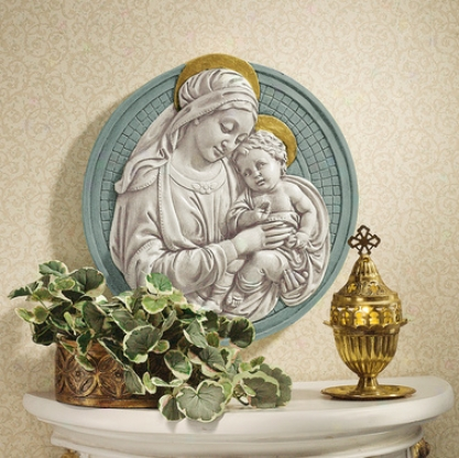 Madonna And Offspring Roundel Wall Sculpture