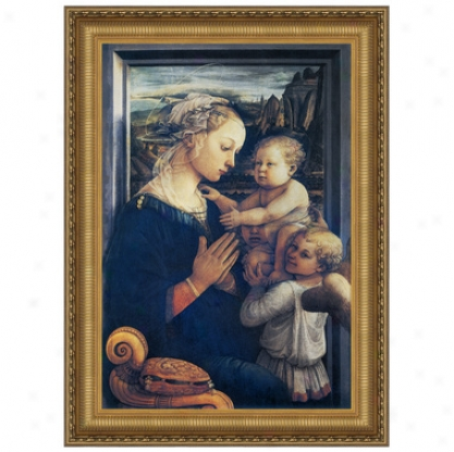 Madonna And Child With Two Angls, C. 1465: Canvas Replica Painting: Small