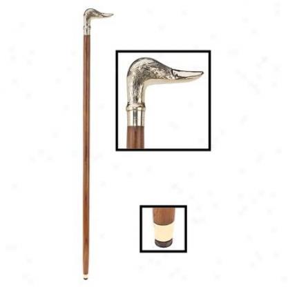 Mallard Duck Polished Brass Handle Walking Stick