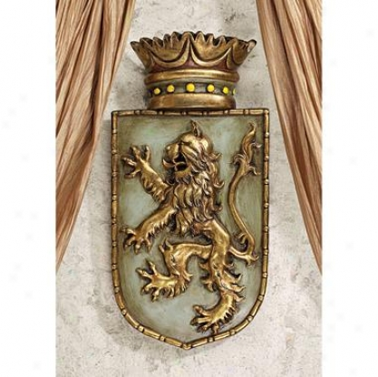 Medieval Rampant Lion Shield Wall Sculpture