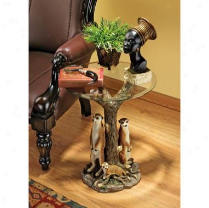 Meerkat Clan Sculptural Glass-topped Party Table