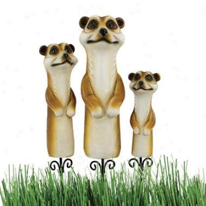 Meerkat Garden Stake Statues: Set Of 3