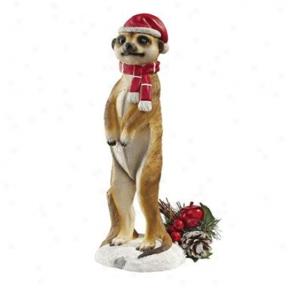 Merry Meerkat Holiday Greeter Statue