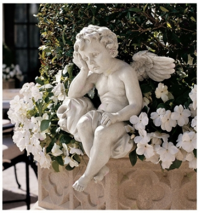 Mourming Mortality Sitting Cherub Sculpture