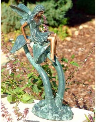 Mushroom Fairy Solid Bronze Garden Sculpture