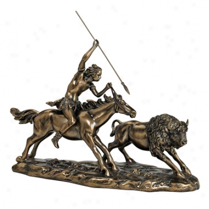 Native American Buffalo Hunt Statue