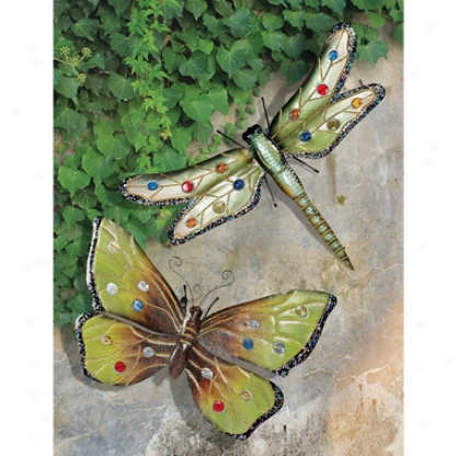 Oversized Dragonfly & Butterfly Wall Sculptures