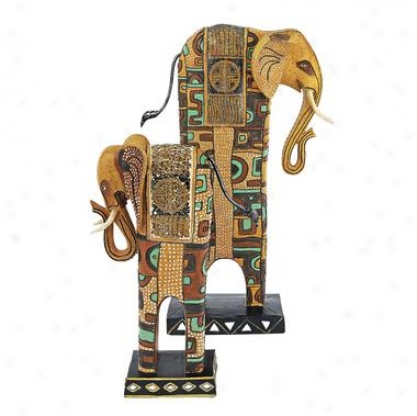 Painted Pachyderms African Elephant Statues: Medium & Large