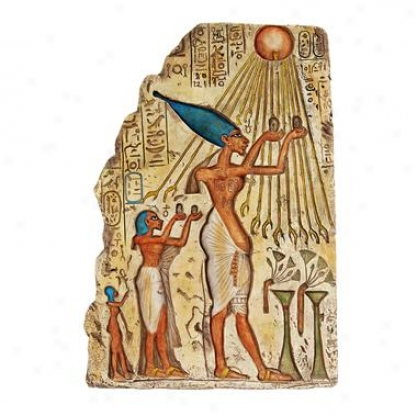 Pharaoh Akhenaten Sacrifice To Aten The Sun Wall Sculpture